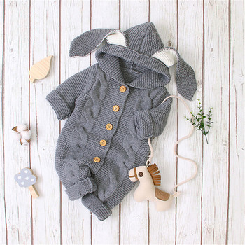 Baby Rompers Long Sleeve Winter Soft Warm Knitted Infant Kids Boys Girls Jumpsuits Outfits Toddler Hooded Children Clothing