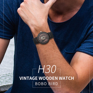 Image 1 - Bobo Vogel Houten Horloges Voor Mannen Casual Quartz Mannelijke Horloge Часы Мужские Zwarte Koeienhuid Lederen Band Met Houten Doos Dropship