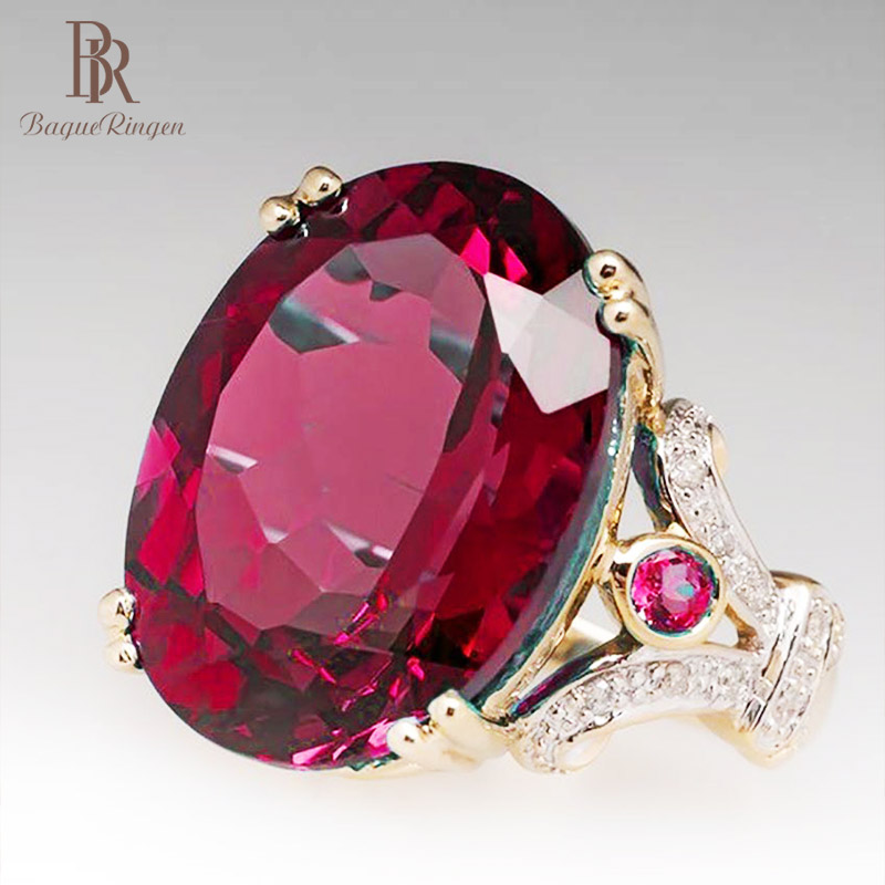 Bague Ringen Luxury Gold Ruby Ring With Created Ruby Gemstone Wedding Event Party Female Ring Jewelry Wholesale Woman Gift