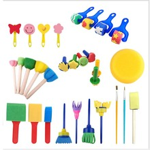 Toys for children 1set Wooden Plastic Handle DIY Painting Sponge Brush Toy Handle Baby
