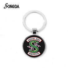 SONGDA Fashion Riverdale Keychain Hot American TV Mysteries of Riverdale Crystal Key Chain Snake Shape Handmade Unisex Key Ring(China)