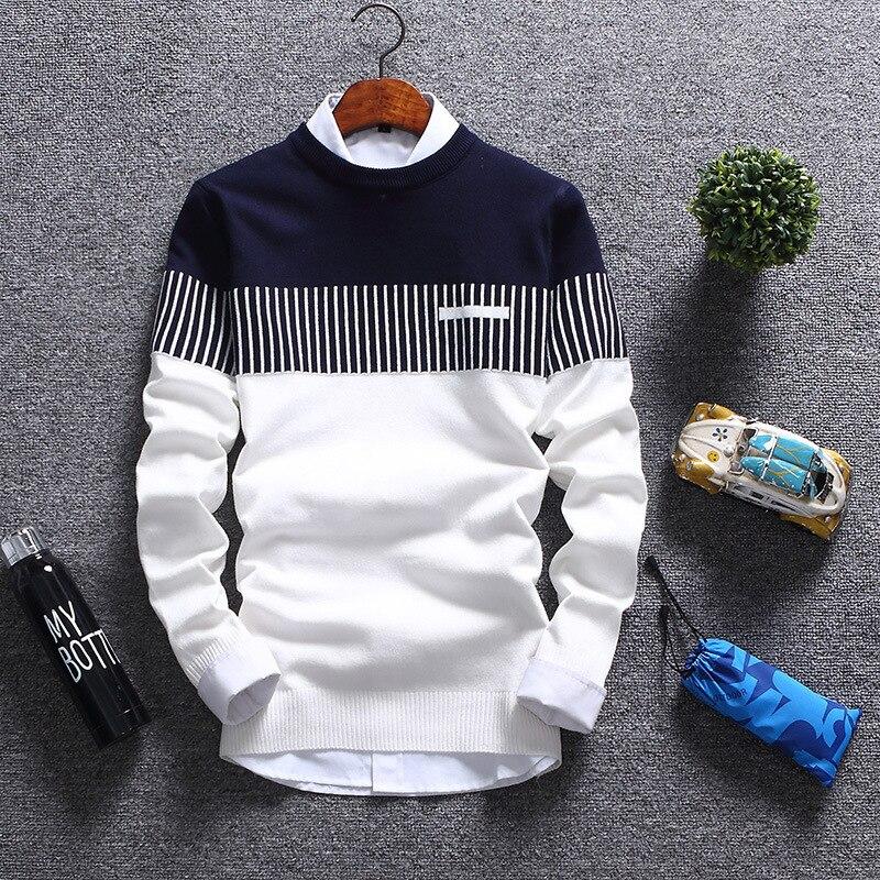 New Style Sweater Fashion Striped Thin Sweater Korean-style Stylish Men's Sweater