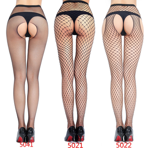 Black Fishnet Stockings Open Crotch Sexy Pantyhose Women Erotic Lingerie Crotchless Mesh Tights Transparent Nylon Lady Summer