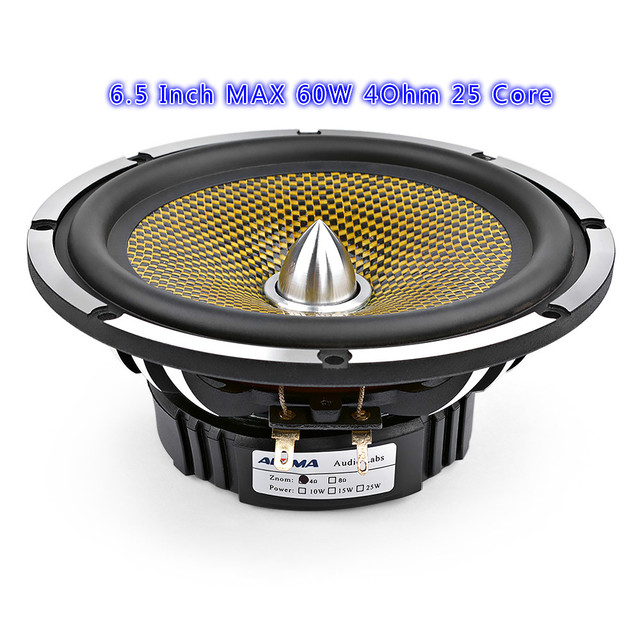 6.5 Inch Car Audio Midrange Bass Speaker High Power 4 8 Ohm 60 W 25 Core Bullet Aluminum Basin Music Woofer Loudspeaker