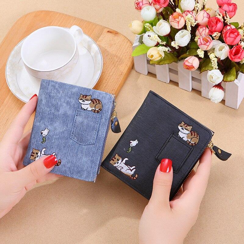 2019 Luxury Embroidery Cat Wallet Women Purse Coin Pocket Kawaii Leather Women Wallets Money Bag Card Holder Girls Clutch