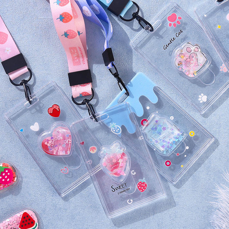 New Cute Quicksand Animals Lanyard Credit Card ID Holder Bag Student Women Travel Bank Bus Business Card Cover Badge