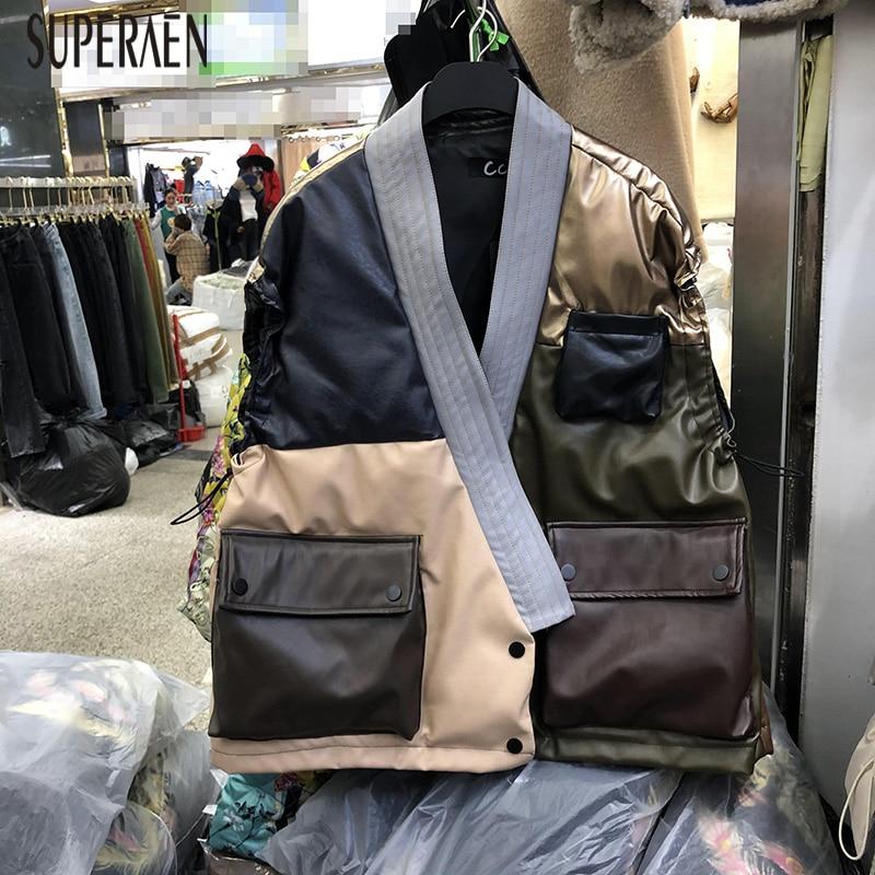 SuperAen Europe Thick Sleeveless Vest Coats Women 2019 Winter New Splice Leather Vest Female Wild Casual Fashion Women Clothing