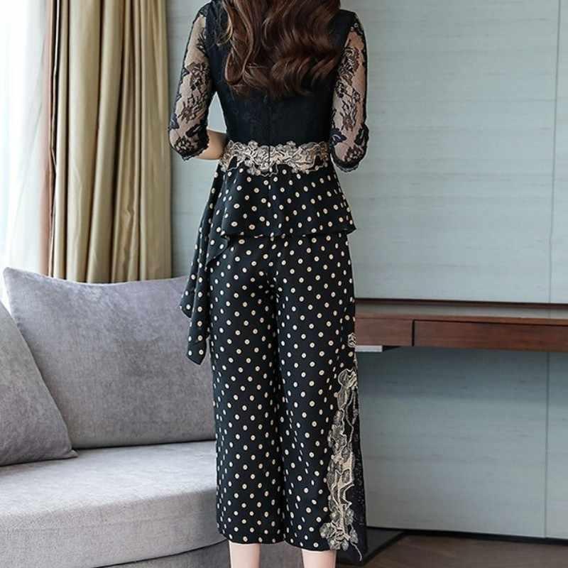 2020 verão feminino laço emendado polka dot duas peças conjunto elástico cintura larga perna calças outfits senhora do escritório irregular babados conjuntos