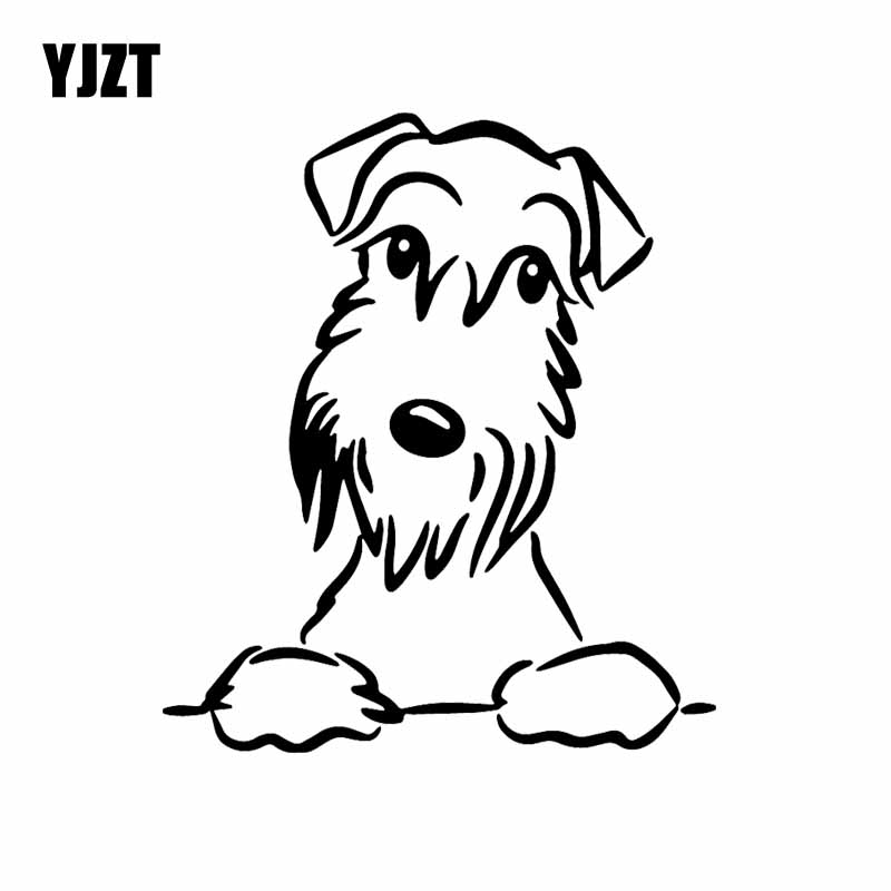 YJZT 13.4X15.6CM Cute Schnauzer Dog Car Sticker Vinyl Decal Car Window Funny Decor Black/Silver C24-1574