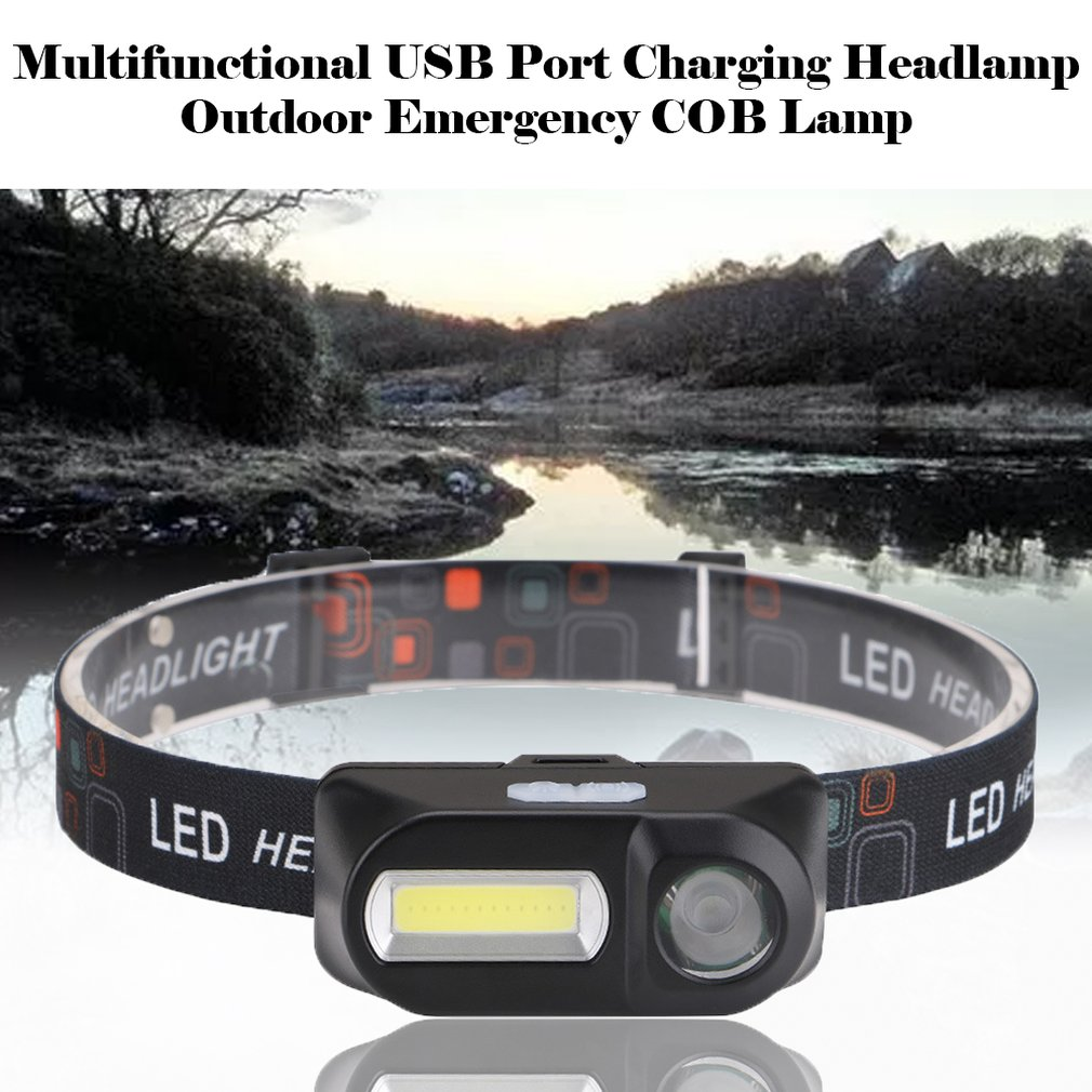 Multi-Function Usb Interface Charging Head Light Cob Outdoor Emergency Head-Mounted Flashlight Camping Fishing Headlights