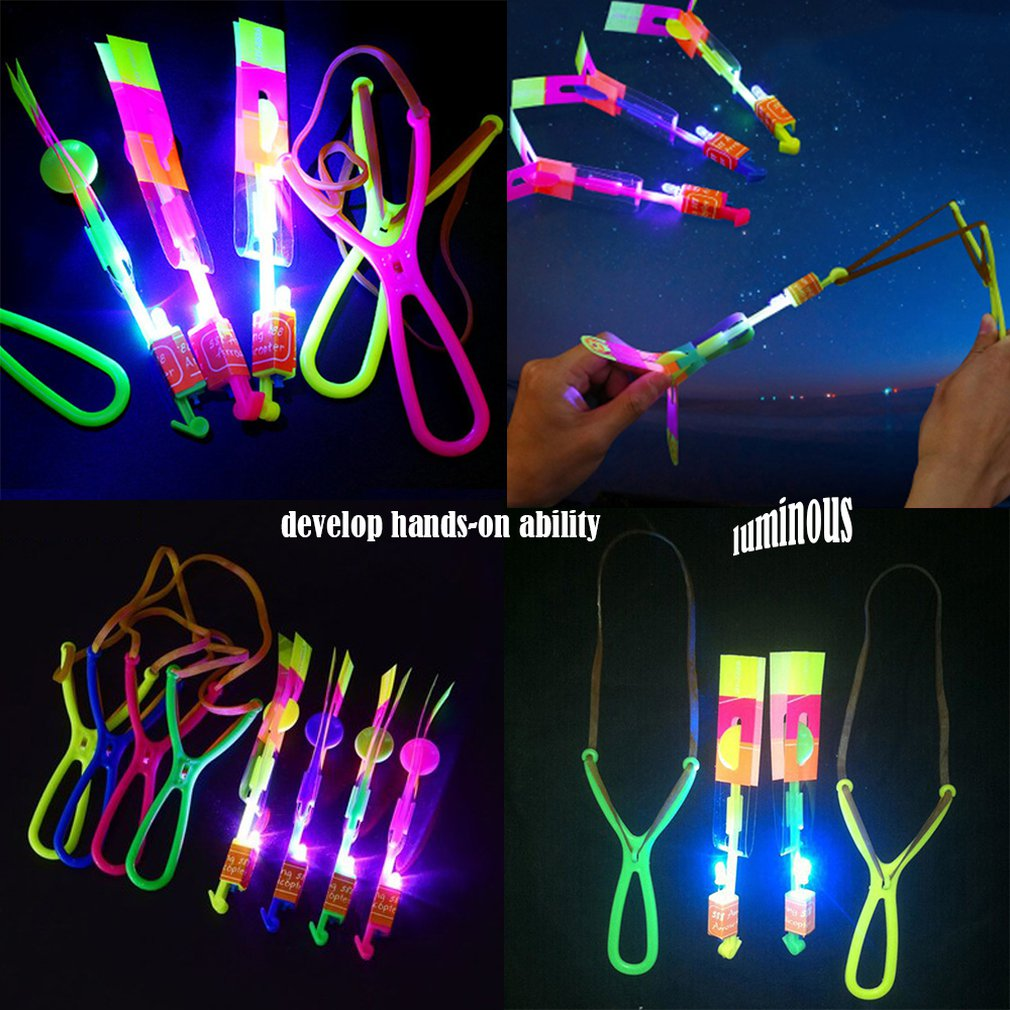 Luminous Slingshot LED Light Catapult Arrows Flying Toys Children Kids Non-toxic Early Educational Toy