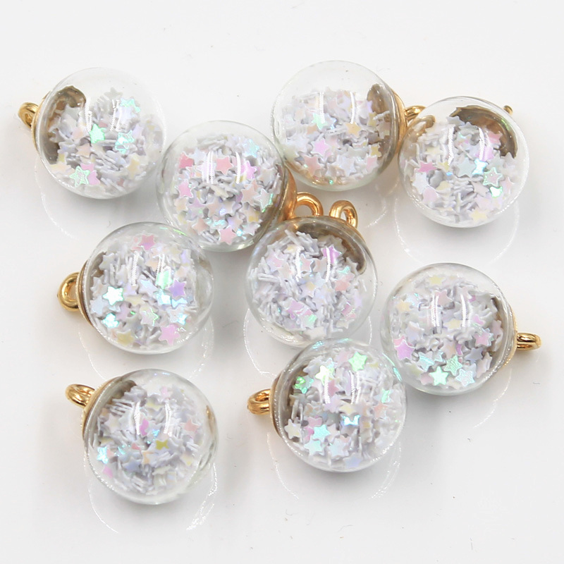 20pcs Charms Star Sequins Transparent Glass Ball 15mm Pendants Crafts Making Findings Handmade Jewelry DIY for Earrings Necklace 5
