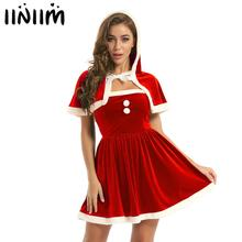 Hooded Cape Top-Dress Outfits Costume Christmas-Clothes Adult Womens Iiniim Reindeer