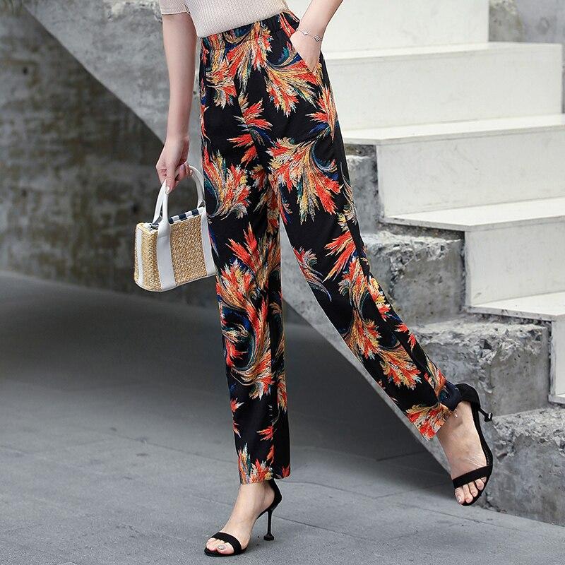 22 Colors 2020 Women Summer Casual Pencil Pants XL-5XL Plus Size High Waist Pants Printed Elastic Waist Middle Aged Women Pants 20