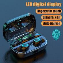 Kablosuz Bluetooth kulaklık TWS kulaklık Bluetooth 5.0 kulaklık gürültü iptal Handsfree LED dijital ekran kulakiçi
