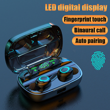무선 블루투스 헤드폰 TWS 이어폰 블루투스 5.0 헤드폰 소음 차단 핸즈프리 LED 디지털 디스플레이 이어 버드