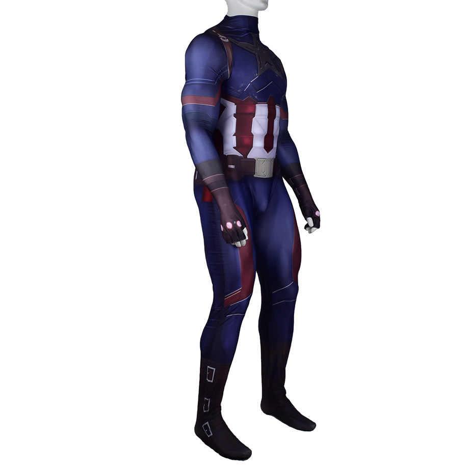 Capitán América juego de rol disfraz zentai traje de superhéroe Unisex apretado monos de LICRA disfraces de Halloween para adultos y niños