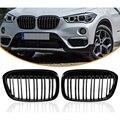 Глянец Черный передний бампер почек гриль решетки для BMW X1 F48 F49 2016-IN XDrive двойная линия M Look 51117383363 51117383364