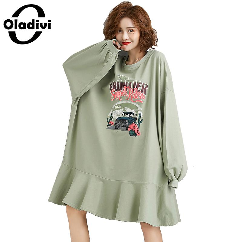 Oladivi Oversized Plus Size Women Fashion Print Long Sleeve Casual Short Dress Ladies Loose Shirt Dresses Female Tunic Vestidos