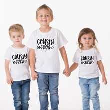 1pcs Cousin Crew Boys Girls Tshirt Family Look Party Wear Brothers Sisters Cousins T-shirt Fashion Toddler Anouncement Wear