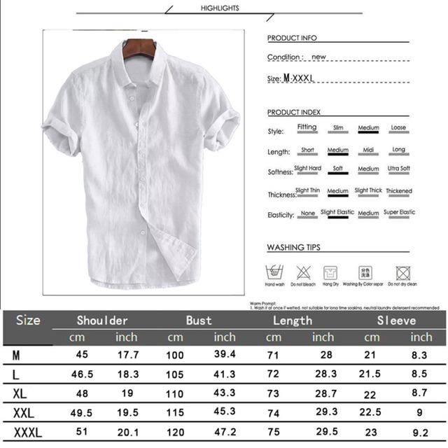 Men's Short Sleeve Linen Cotton Shirt