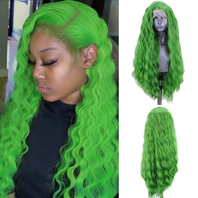 כריזמה עמוק גל פאת צד חלק תחרה סינתטית עמידות בחום סיבי שיער ירוק פאות עבור נשים טבעי קו שיער