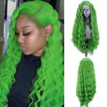 Charisma Diepe Golf Pruik Kant Deel Synthetische Lace Front Pruik Hittebestendige Vezel Haar Groene Pruiken voor Vrouwen Natuurlijke Haarlijn
