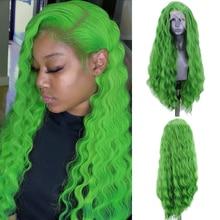 Charisma Tiefe Welle Perücke Seite Teil Synthetische Spitze Front Perücke Hitze Beständig Faser Haar Grüne Perücken für Frauen Natürliche Haaransatz