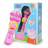 20cm 2020 Echte Peppa Schwein George Kinder Musical Instruments licht musik Mikrofon keine plüsch Spielzeug puppe kinder Geburtstag Geschenke