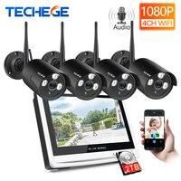 Techege 1080P Wireless NVR Kit 12 LCD Monitor 2MP Wifi IP Camera 1080P Audio CCTV Camera Home Security System Surveillance Kit
