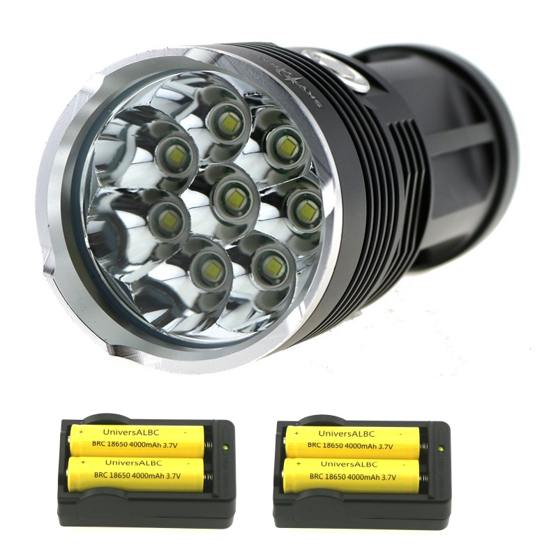 BCMSJVH 15000 Lumens 8x XM-L T6 LED Flashlight Waterproof & Tactical Torch Lamp + 4x 18650 Battery + 2x Wall Charger