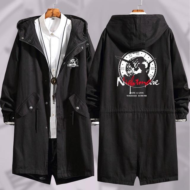 Anime DATE A LIVE Tokisaki Kurumi Cosplay Long Windbreaker Women Men Autumn Winter Warm Hooded Coat Zip Wind jacket outercoat