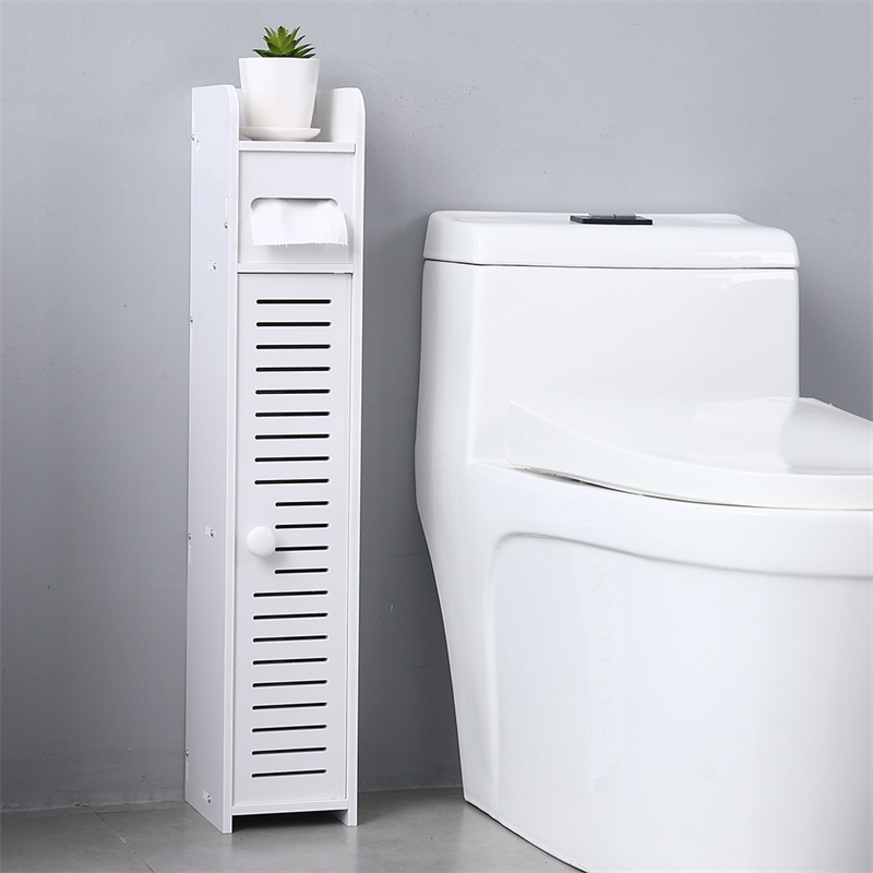 Paper Towel Storage Narrow Cabinet Pvc 15.5x17x80cm Height Waterproof Bathroom Furniture vanity Stand Storage Rack Beside Toilet