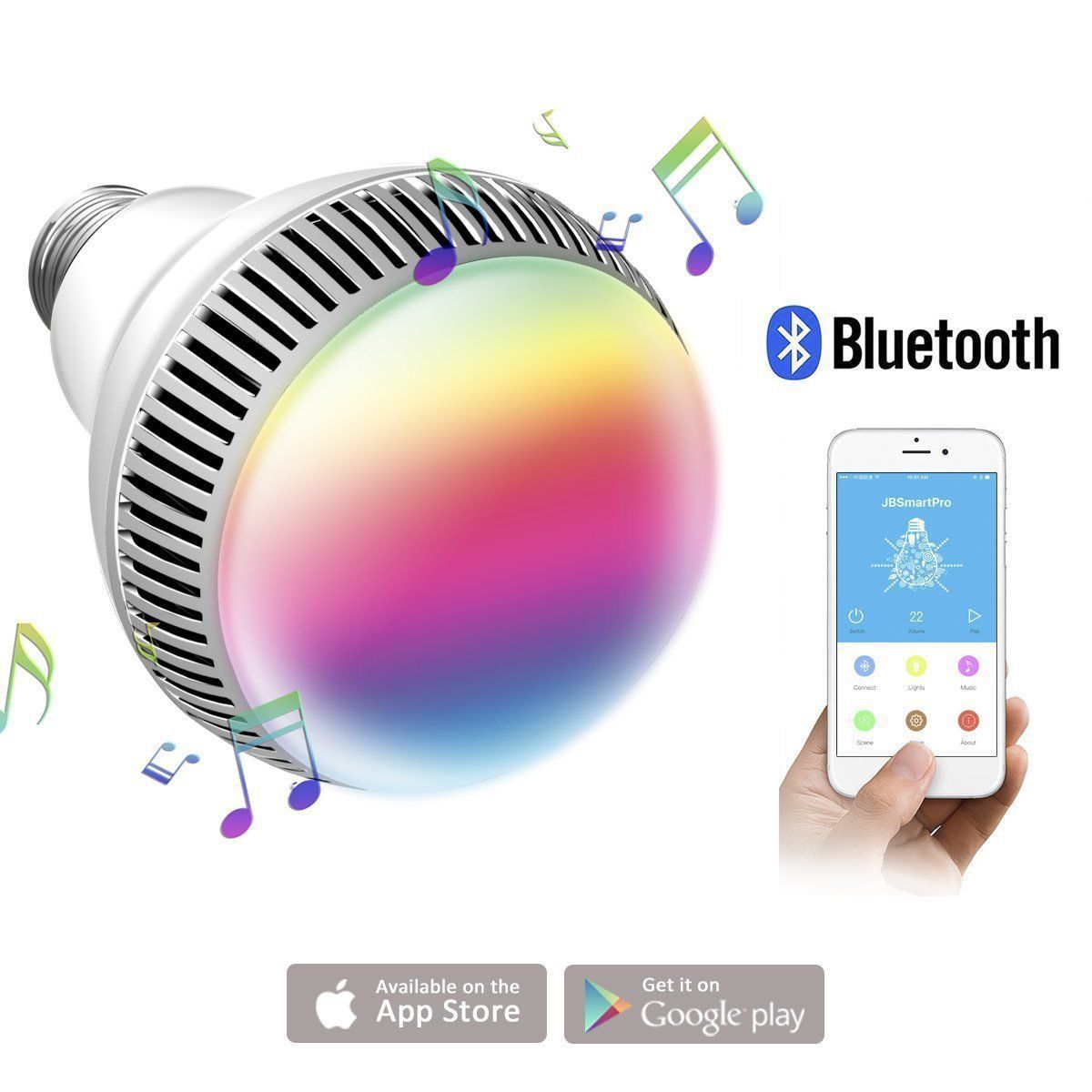 E27 Smart RGB Bulb Bluetooth 4.0 Audio Speakers Lamp Dimmable LED Wireless Music Bulb Light Color Changing Via WiFi App Control