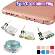 2pcs/set Anti Dust Plug Set USB Type-C Port and 3.5mm Earphone Jack Plug For Xiaomi Huawei P20 Samsung Galaxy S9 S10 Plus