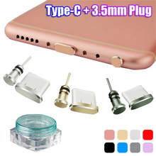 Colorful Metal Type C Charging Port Anti-Dust 3.5mm Earphone Jack Dust Plug For Samsung S10 Phone Accessories