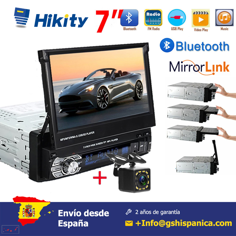 Hikity 7'' Car radio 1 din HD Autoradio Touch Digital Screen GPS Navigation Bluetooth FM USB SD MP5 Support Rear View Camera image
