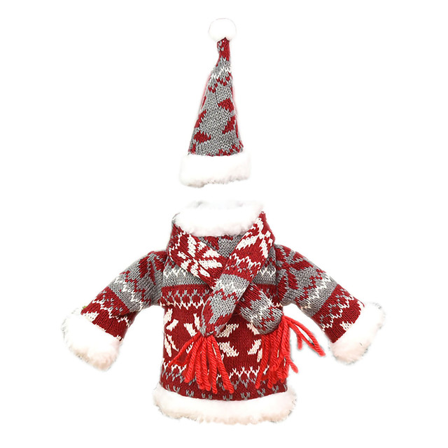 Christmas home decorations Christmas Decorations Mini Cute Knitted Fabric Dress Suit Wine Bottle Cover boże narodzenie navidad 3