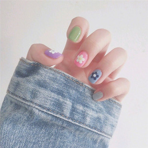 Image 4 - 14tips/set Full Cover Nail Stickers Wraps Decoration DIY for Beauty  Art Decals Plain  Self Adhesive