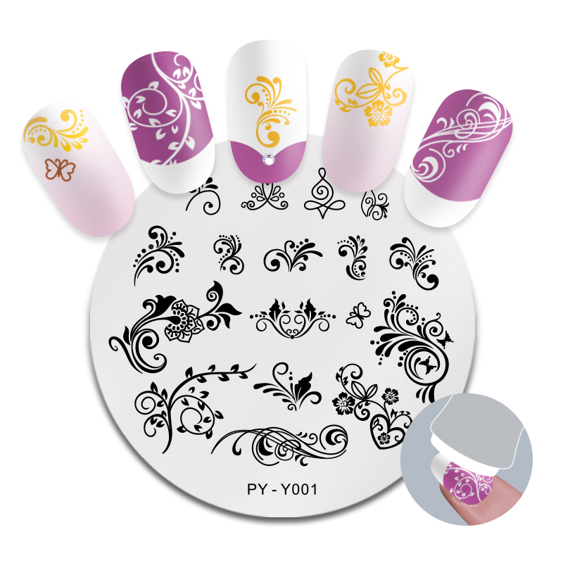 PICT YOU Nail Stamping Plate French Tips Printing Design Image Stamp Stainless Steel Round Shape Nail Art Templates Y001