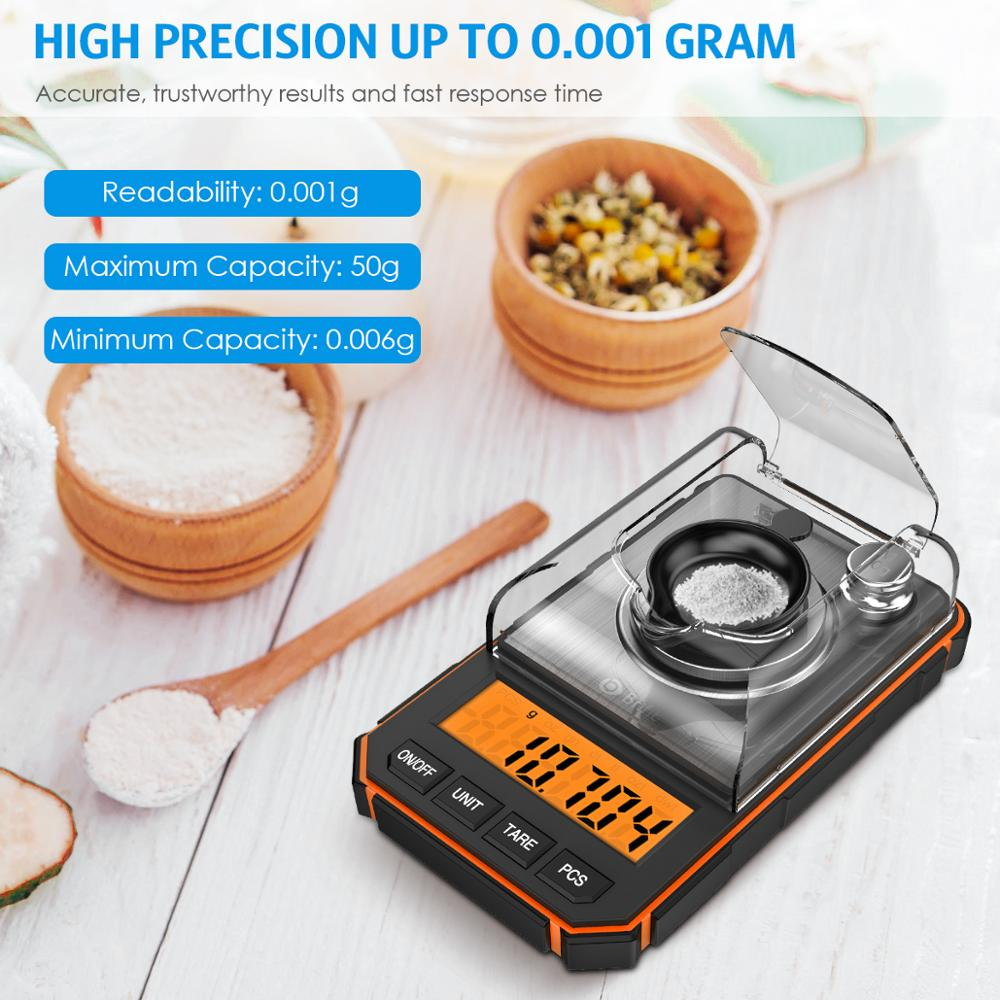 0.001g Digital Scale Portable Mini Scale Precise Graduation Professional Pocket Scale Milligram 50g Calibration Weights Tweezer