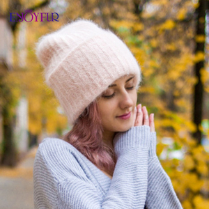 Image 1 - ENJOYFUR Winter rabbit fur hats for women warm wool lining girl  beanies fashion ladies bright color wide side young bonnets new