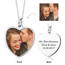 Personalized 925 Sterling Silver Heart Engraved Color Photography Necklace Memorial Jewelry Gift Keepsake for Lover