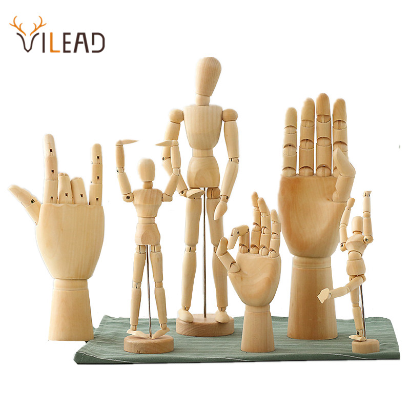 VILEAD 8 Size Wood Hand Wooden Man Figurines Rotatable Joint Hand Model Mannequin Artist Miniatures Wooden Decoration Home Decor