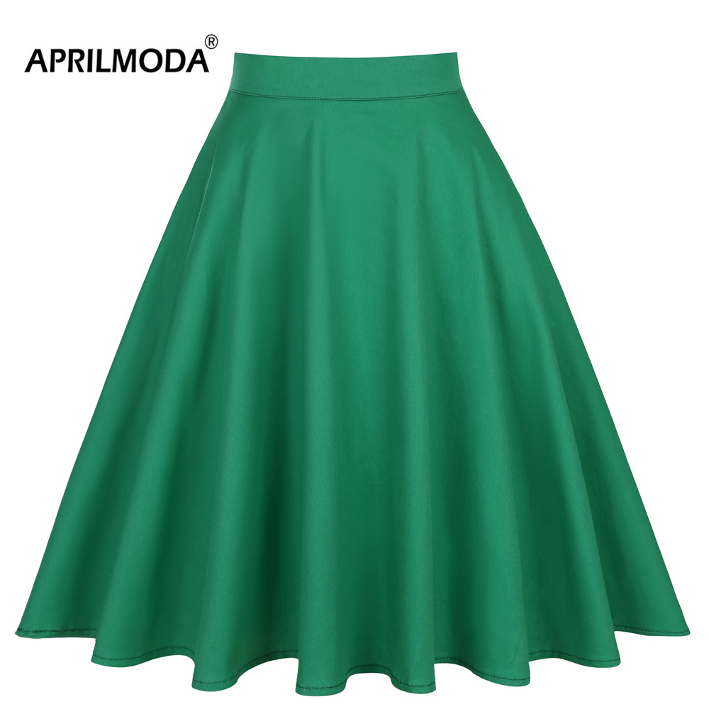 2019 Summer A-line Midi Short Skater Skirt Womens Green Knee Length 40s 50s 60s Vintage High Waist School Pleated Womens Skirts