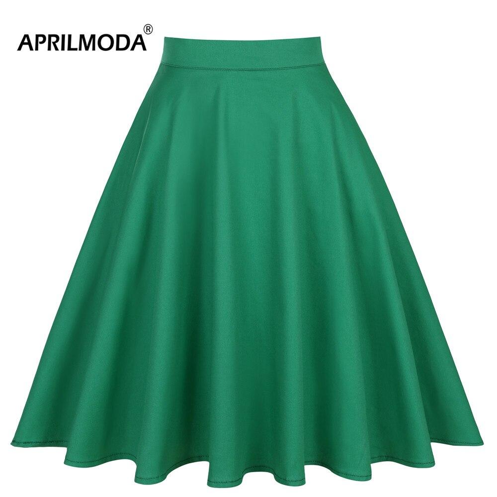 2019 Summer A-line Midi Short Skater Skirt Womens Green Knee Length 40s 50s 60s Vintage High Waist School Pleated Womens Skirts