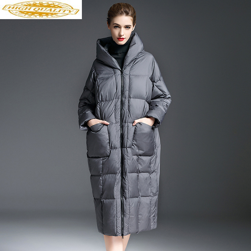 90% White Duck Down Jacket Woman Hooded Long Winter Coat Women Warm Puffer Jacket Coats Campera Pluma Mujer 8006 KJ2790