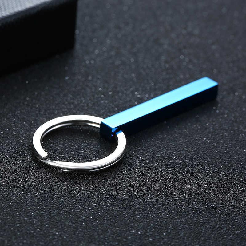 Niestandardowe dowolną nazwą pionowy pasek brelok 4 jednostronne grawerowany breloczek dla chłopaka męża spersonalizować prezent