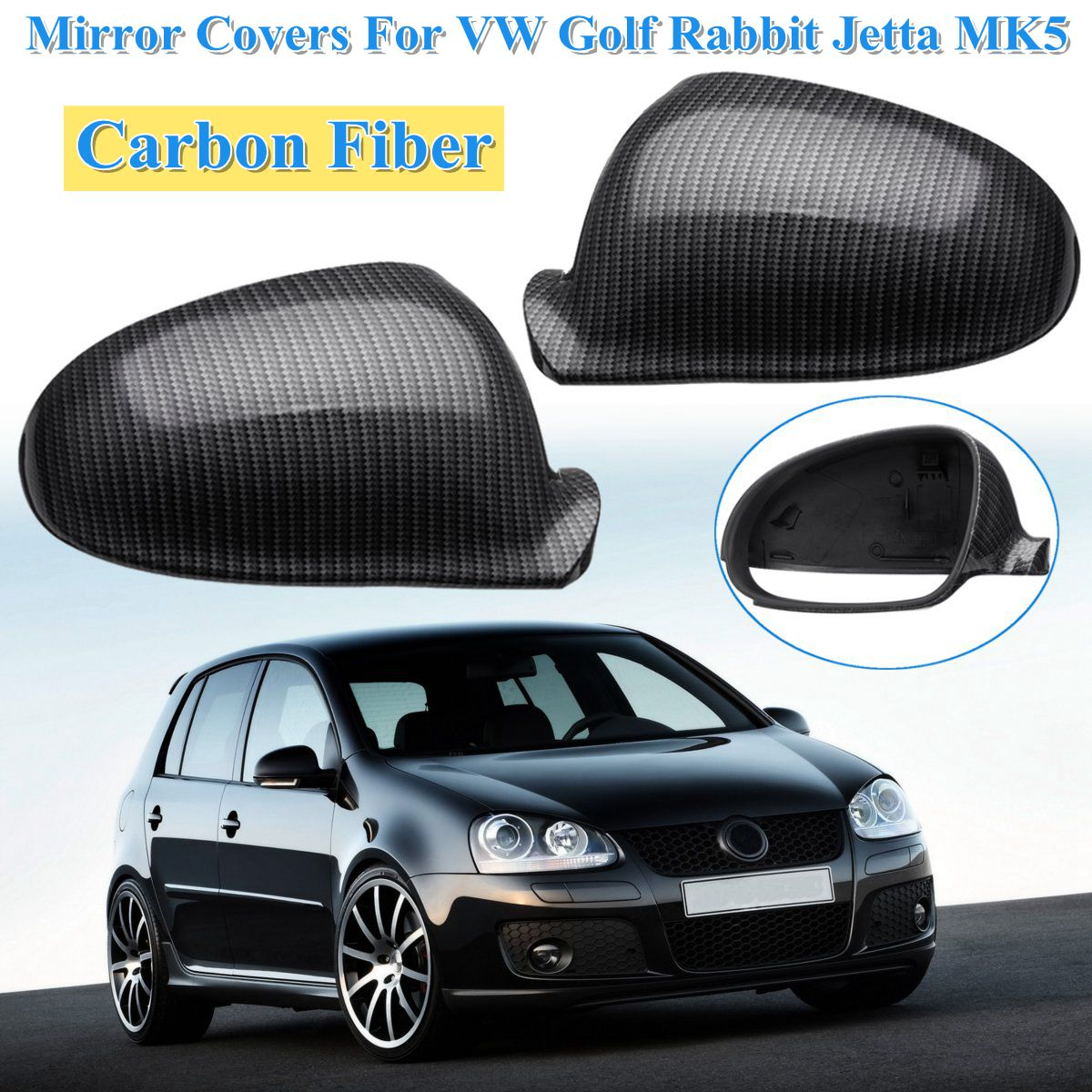 Carbon Fiber Side Wing Mirror Covers Caps For Golf Rabbit GTI R32 Standard For VW For Jetta MK5 2006 2007 2008 2009 1K0857537