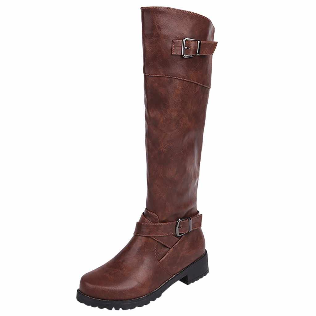หลอดยาวหนังผู้หญิงฤดูหนาวสไตล์โรมสไตล์ขี่ 2019 แฟชั่นย้อนยุครองเท้าสไตล์โรมสไตล์อัศวินรองเท้าใหม่